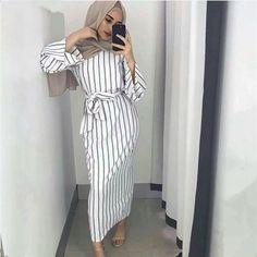 Plus size Muslim Adult sriped fashion Robe Musulmane Turkish Dubai Abaya Muslim Robe Arab Worship Service abaya wholesale - Muslim Shops - High Quality Islamic Clothing Hijab Outfit, Hijab Dress, Muslim Dress, Dress Skirt, Muslim Eid, Wrap Dress, Islamic Fashion, Muslim Fashion, Modest Fashion