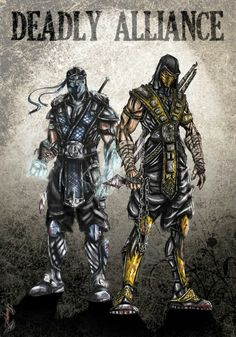 Mortal Kombat, Sub Zero and Scorpion Scorpion Mortal Kombat, Arte Kombat Mortal, Mortal Kombat Tattoo, Video Game Art, Video Games, Ufo, Arte Ninja, Mileena, King Of Fighters