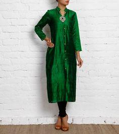 Green Raw Silk Kurti