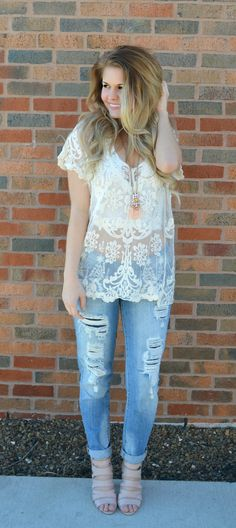 I Found Love Lace Top  $32.00