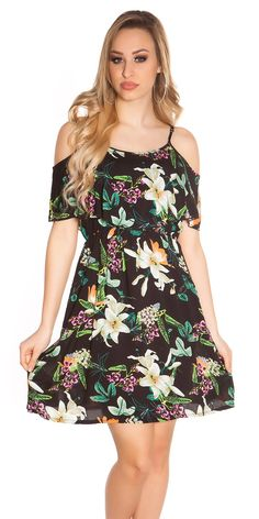 Dámské letní šaty na ramínka. Doplněno volánem.  Barva: černá  Materiál: 100% viskoza Wrap Dress, Cold Shoulder Dress, Rompers, Casual, Stuff To Buy, Dresses, Products, Fashion, Vestidos