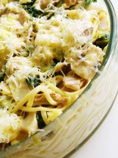 chicken, mushroom and leek spaghetti bake - easy to make high calorie for the boys too!!  Eat The Right Stuff blog