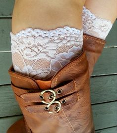 Chamagne floral Lace boot cuff accessories on Wanelo