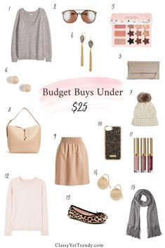 Budget Buys Under $25 - Retailers are putting their winter items on sale, making room for their Spring season products. If I'm needing any replacements for my capsule wardrobe, or if I'm wanting a new accessory I always like to check out the sales. I've found a few bargains on retailers' sites, that are worth looking into!