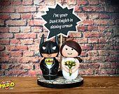Batman and Bride Wedding Cake Topper Batman Mask Chalkboard Personalised OHMYHERO