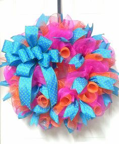 Fun Spring Wreath Bright Deco Mesh Summer Wreath by Azeleapetals, Azelea Petals