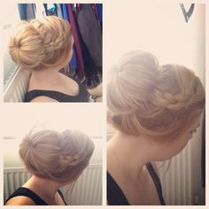Playing around with some hairstyles for the wedding and quite liked the idea of something a little less formal. A bit messy but still cute. A loose bun with plaits leading into it.