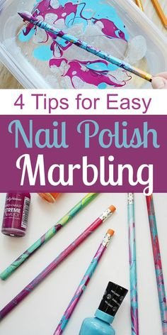 Discover the 4 things you need to know about nail polish marbling and get ready for back to school with easy DIY custom pencils. Marble Nail Polish, Kids Nail Polish, Nail Polish Painting, Nail Polish Crafts, Nail Polish Storage, Nail Polish Colors, Nail Art, Diy With Nail Polish, Diy Crafts To Sell