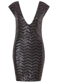 Black Cap Sleeve Sequined Bodycon Dress 30.67
