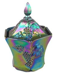 fenton carnival glass grape candy box