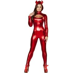 Adult Darling Devil Sexy Costume ($80) ❤ liked on Polyvore featuring costumes, halloween costumes, multicolor, party costumes, adult costume, horns costume, adult devil costume and sexy costumes
