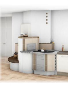 Tischherd Modern Corner Desk, Kitchen Cabinets, Interior, Furniture, Home Decor, Trough Sink, Tiling, Tiles, Tiny Houses