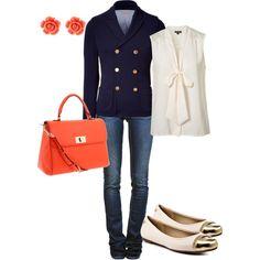 Kate Middleton Inspired  business casual navy orange