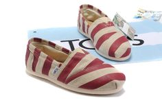 Classics Stripe Linen Red Toms Women Shoes $ 19.00