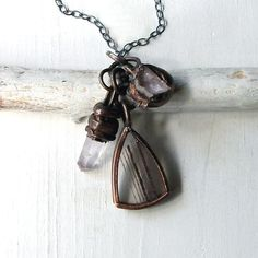 amazing handmade copper jewelry / Assemblage Necklace Amethyst Druzy Quartz Copper Crystal Gemstone Handmade Pendant. $125.50, via Etsy.