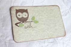 Baby Owl Wish Cards with Green Leaves - Baby Shower