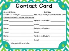 student information and emergency contact card first of year