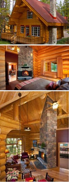 Check out this Alberta resort cabin. Its fireplace is incredible!