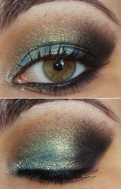 Makeup. Teal with gold shimmer