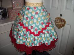Unique Vintage 1940's style apron using sew cherry fabric and jumbo Rick rack