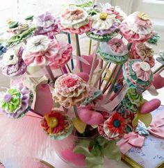 Beautiful Yo-Yo flower arrangement