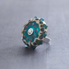 Teal Lampwork Glass Mandala Flower Ring Turquoise by LaSistaBeads