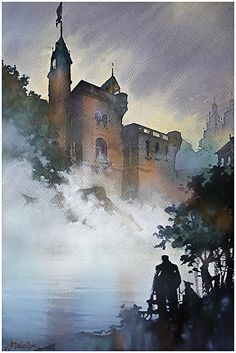 belvedere castle by Thomas W. Schaller Watercolor ~ 22 inches x 15 inches