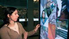 1. Structures supported by a solid base. 2.Bluecadet 3. http://www.bluecadet.com/work/native-american-voices-the-people-here-and-now/ 4. The large touchscreen is designed to be used at any height. Because it is such a large screen, it draws the attention of viewers.
