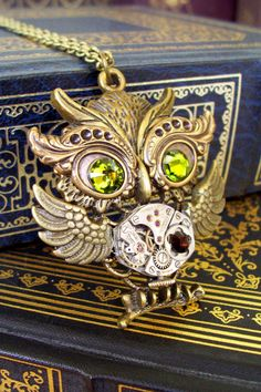 Steampunk Necklace N188  Owl Pendant  Dame by DesignsByFriston, $30.00