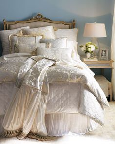 Dian Austin Couture Home Dresden Bed Linens Large Scale Plisse Damask Scrolls Are Paired With Pleats And Quilting In By