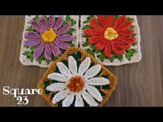 Crochet Daisy, Crochet Motif, Crochet Flowers, Crochet Crafts, Mandala, Diy Projects, Blanket, Simple, Videos