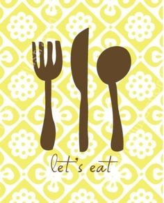 Let's Eat Kitchen Art Print via Etsy Kitchen Art Prints, Kitchen Posters, Kitchen Wall Art, Kitchen Decor, Kitchen Ideas, Recipe Scrapbook, Cute Kitchen, Food Quotes, Food Illustrations