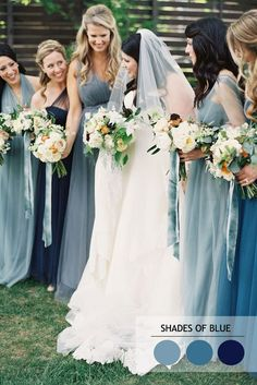 Shades of blue Mix and Match Bridesmaid Dresses by Colours | http://www.fabmood.com/mix-and-match-bridesmaid-dresses-by-colours #bridesmaids #blue
