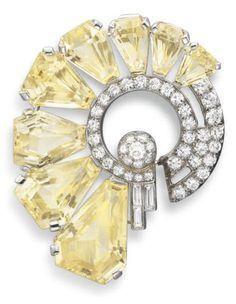 Art Deco Platinum, Yellow Sapphire Diamond Brooch Oscar Heyman Brothers #DiamondBrooches