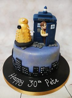 Very cool gluten free doctor who cake! #doctorwhocake #dalekcake #bluetelephoneboxcake https://www.craftycakes.com/