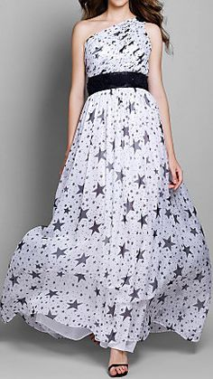 Sheath/Column One Shoulder Floor-length Chiffon Star Evening Dress
