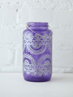 Free People 32 Oz Mason Jar Lantern, $45.00 or i could do it with fabric paint and a tea light. Heck yeah!!!