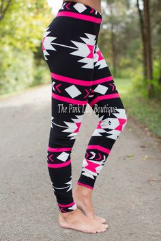 The Pink Lily Boutique - Black and Pink Aztec Leggings , $18.00 (http://thepinklilyboutique.com/black-and-pink-aztec-leggings/)