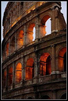 Rome Burns  At dusk, the photographer states, the Colosseum takes on a glow as if on fire.