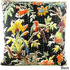 Ethnic Kantha Stitch Tropical Birds Cushion Cover  , Handmade in India