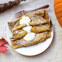 Pumpkin Crepes. Tried them, they are amazing! We made a pumpkin cream cheese filling as well. Off the hook!