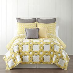 <p>The Fairview quilt by Linden Street makes a charming addition to your bedroom's decor.</p>