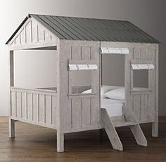 Kids Cabin Bed by Restoration Hardware Baby and Child is a dream come true. What kid wouldn't want this spectacular fort-like cabin in their room?