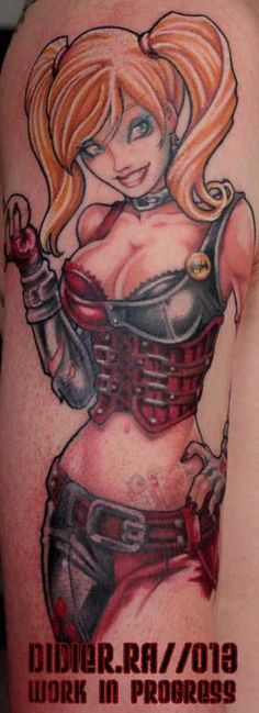 45 Ideas Tattoo Sleeve Marvel Harley Quinn For 2019 Harley Quinn Tattoo, Joker And Harley Quinn, Batman Tattoo, Raven Tattoo, Future Tattoos, Skin Art, Up Girl, Body Mods, Tatoo