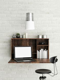 If you're trying to fit an office into a small space or you just want a modern look, consider a wall-mounted desk. Desk on wall, Wall mounted table and Small desk areas. Wall Mounted Desk, Wall Desk, Home Office Design, Office Decor, Floating Desk, Small Space Storage, Small Desk Space, Small Workspace, Bureau Design