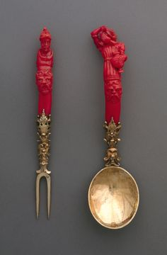 German Fork And Spoon, ca. 1600–30 / coral, gilt silver.