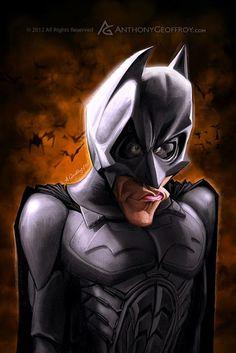 Caricatura del actor Christian Bale, interpretando a Batman, realizada por el artista Anthony Geoff...