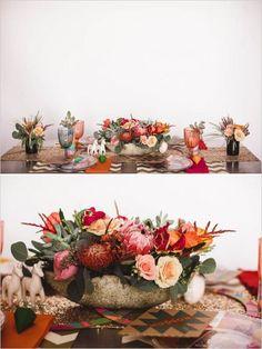 Aztec and desert themed wedding table decor. Captured By: Mark Brooke Photography #weddingchicks http://www.weddingchicks.com/2014/06/19/diy-seating-ideas/