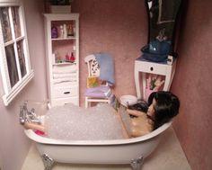 1/6 SCALE Barbie BATHROOM FURNITURE ...OOAK custom dollhouse diorama by CHANIKAVA/ Anastacia Leigh