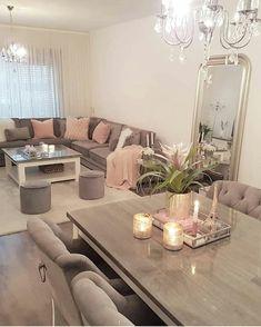 Cute Living Room, Decor Home Living Room, Living Room Designs, Home And Living, Bedroom Decor, Dream House Interior, Home Interior Design, First Apartment Decorating, Kitchen Room Design